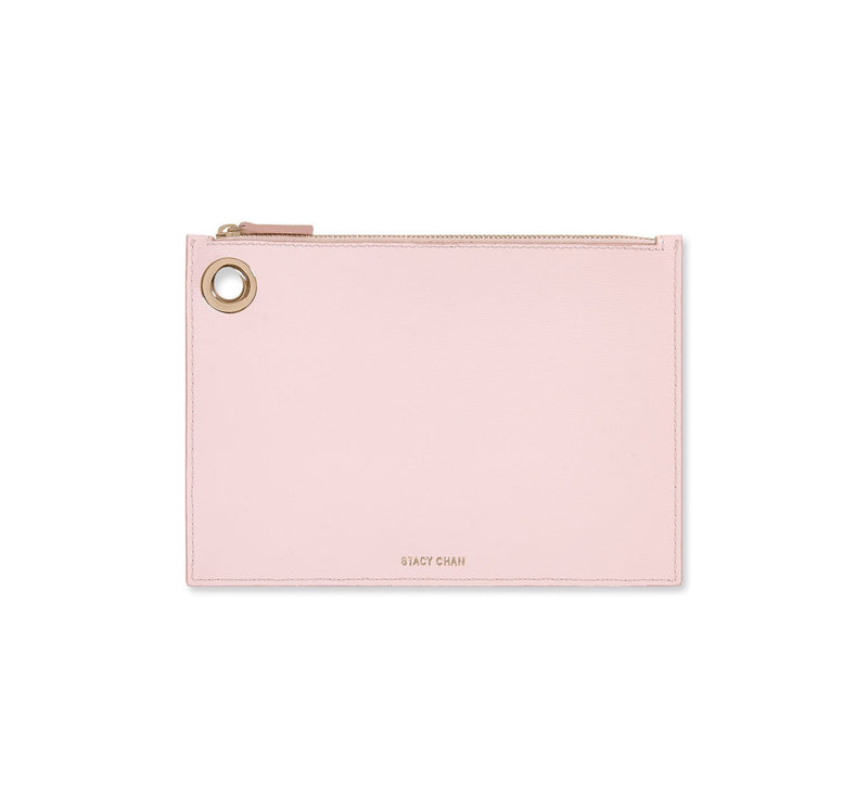 Pink Italian Leather Pouch Clutch