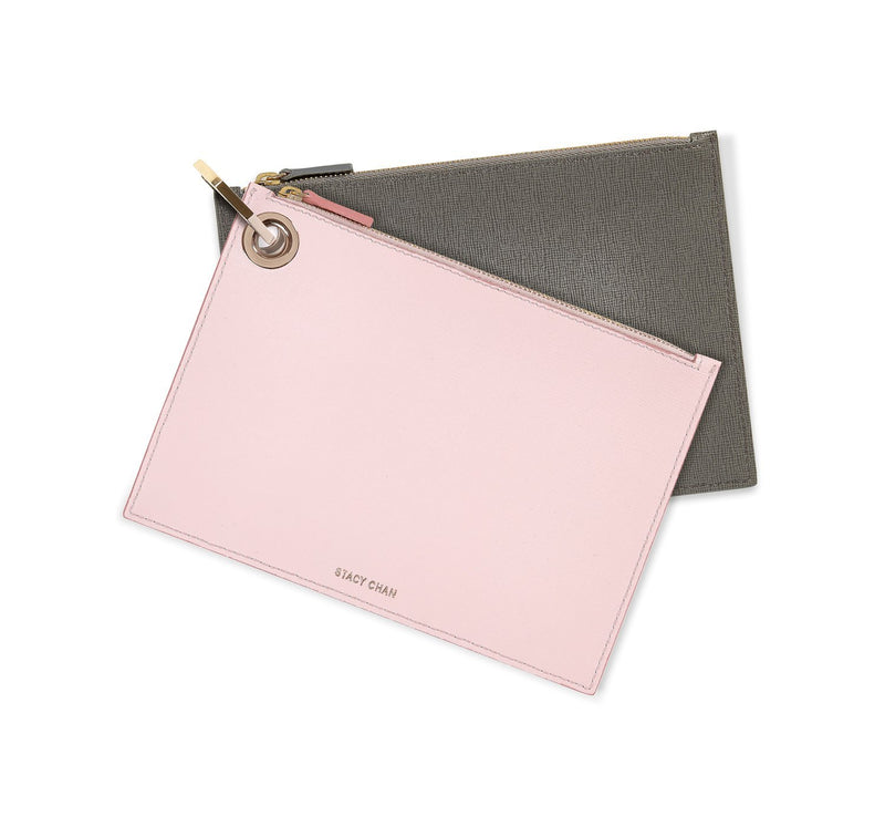 Pink & Grey Leather Medium Pouch Clutch Set
