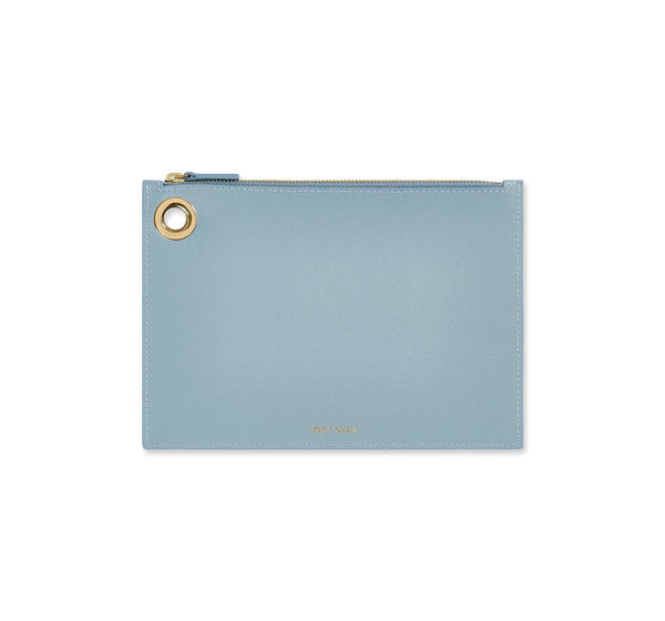 Light Blue Italian Leather Pouch Clutch