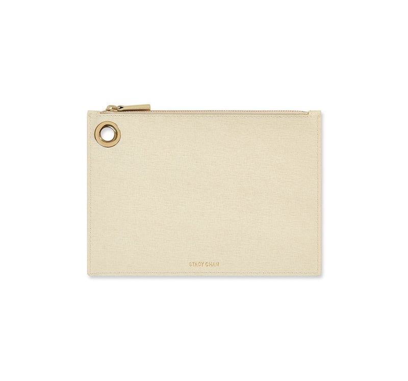 Cream Italian Leather Pouch Clutch