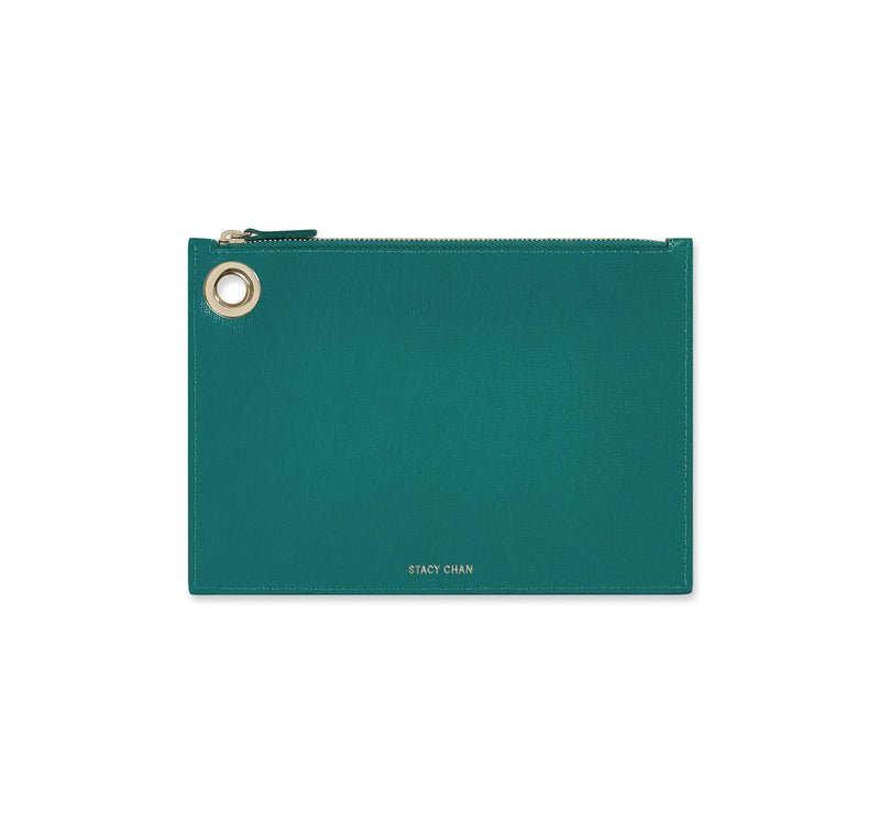 Teal Italian Leather Pouch Clutch