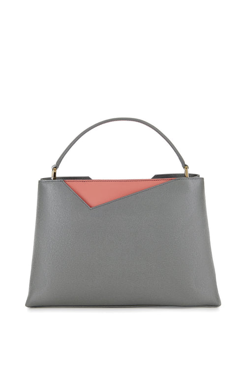 Midi Amy Tote in Grey Saffiano Leather - Stacy Chan Limited