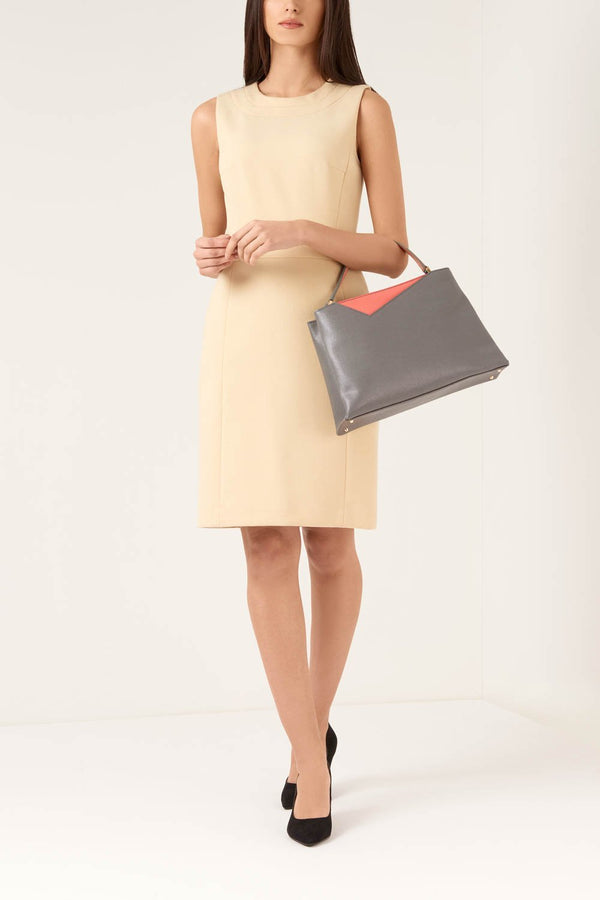 Grey Midi Saffiano Leather Handbag - Designer Stacy Chan