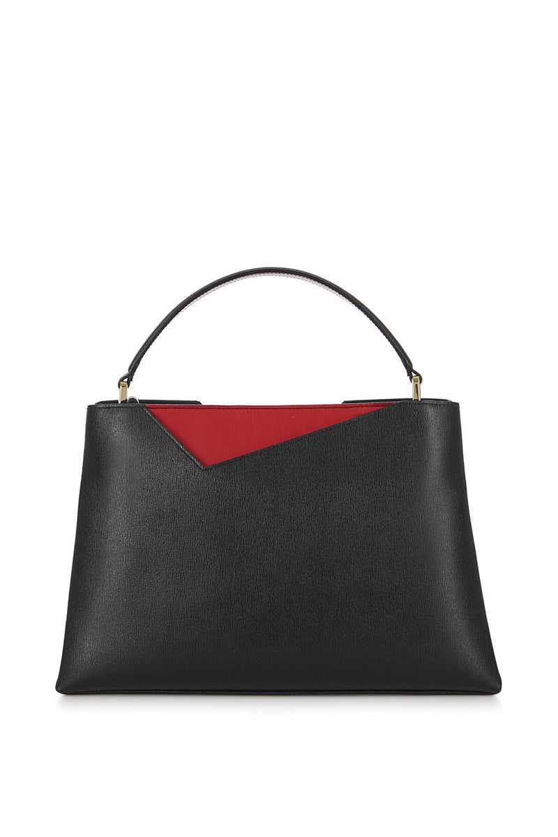 Black Midi Saffiano Leather Handbag - Designer Stacy Chan