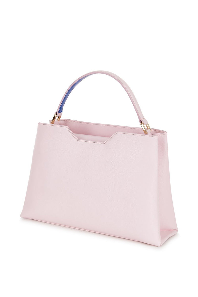 Midi Pink Saffiano Leather Tote Bag - Designer Stacy Chan