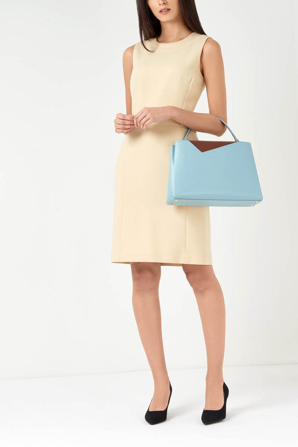 Midi Light Blue Saffiano Leather Tote Bag - Designer Stacy Chan