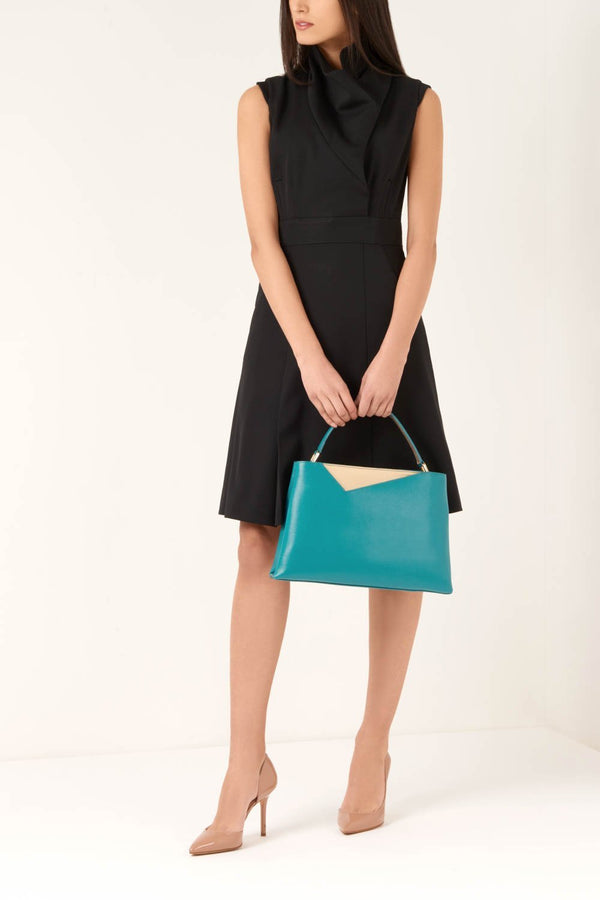 Teal Saffiano Leather Handbag - Designer Stacy Chan