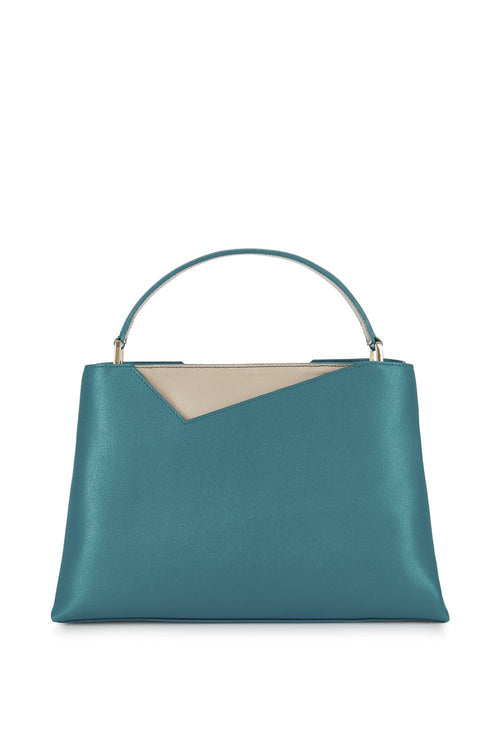 Midi Amy Tote in Teal Saffiano Leather - Stacy Chan Limited