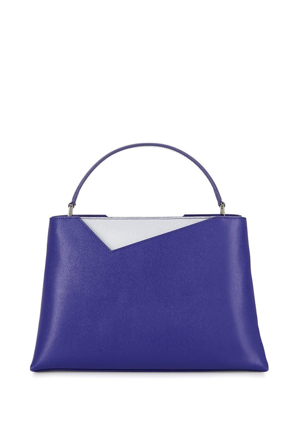 Midi Purple Saffiano Leather Handbag - Designer Stacy Chan