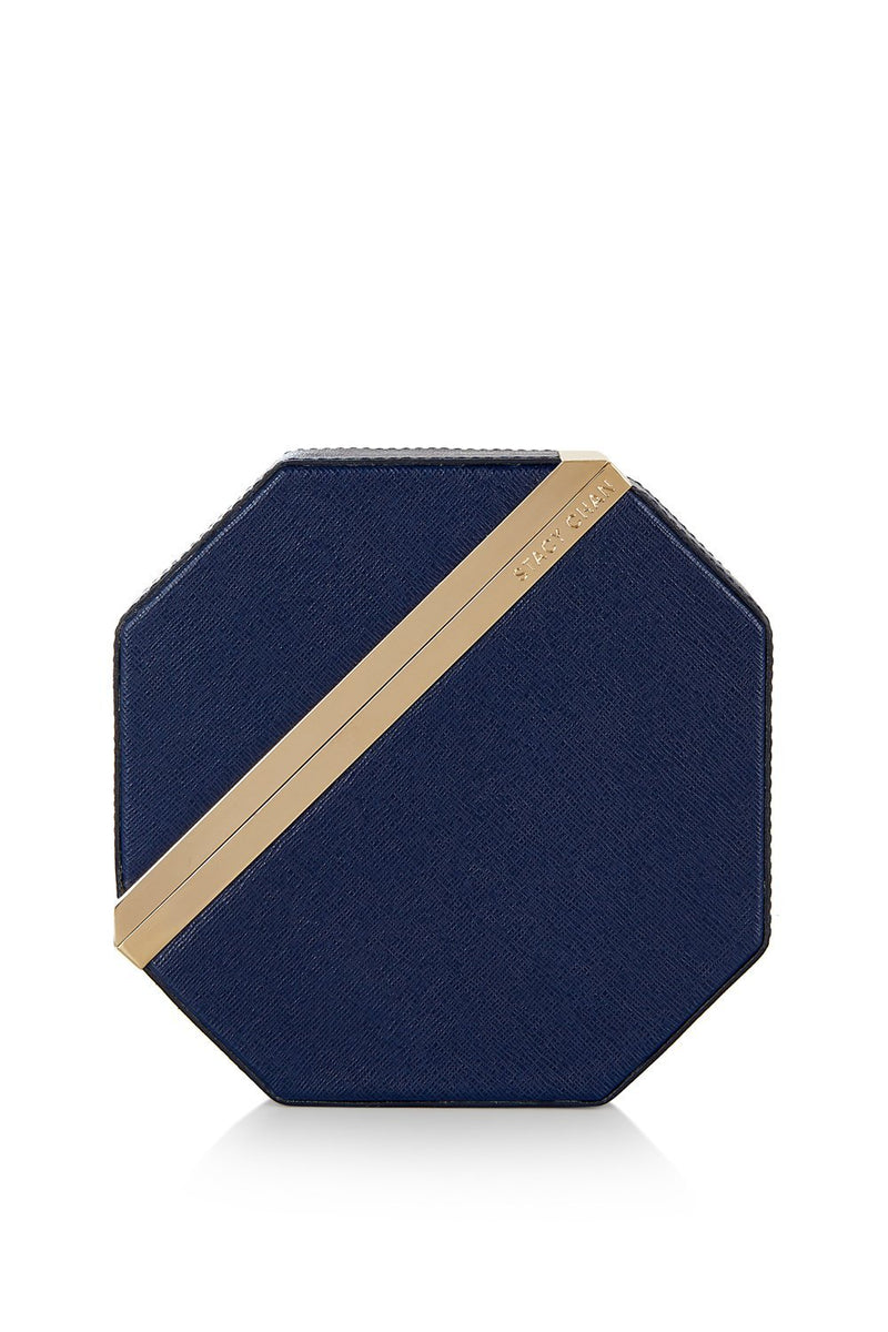 New Imogen Clutch Bag in Navy Blue Saffiano Leather - Stacy Chan Limited