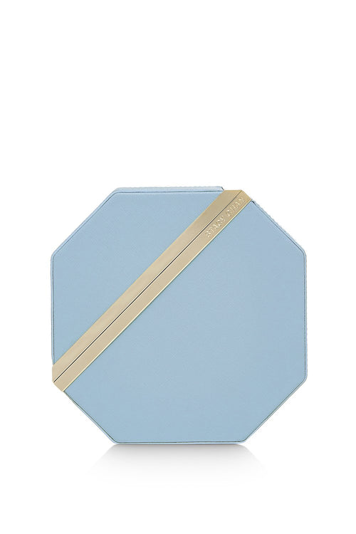 Imogen Clutch Bag | Powder Blue Saffiano Leather