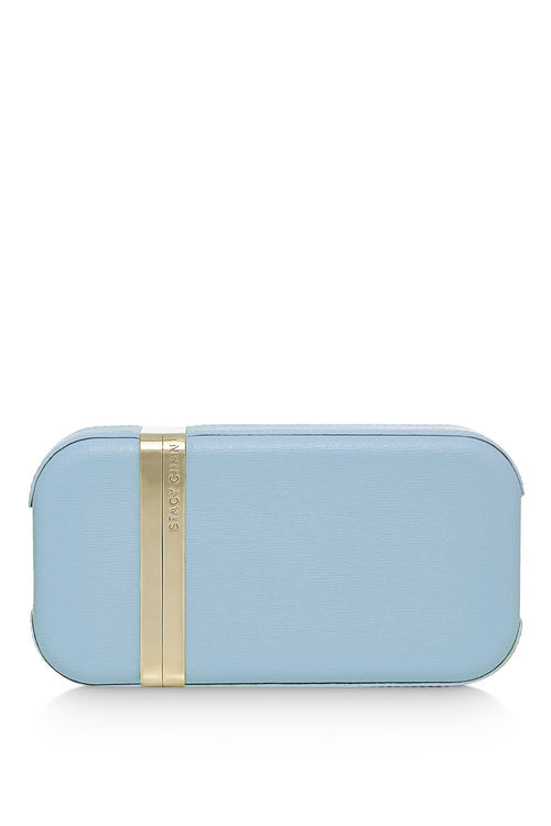 New Sophie Clutch Bag in Powder Blue Saffiano Leather