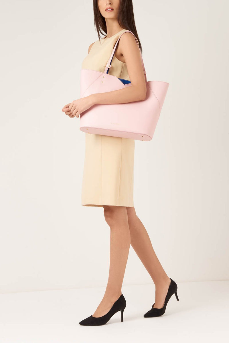 Pink Saffiano Leather Tote Bag - Designer Stacy Chan