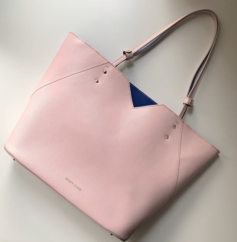 Used Designer Pink Leather Tote Bag