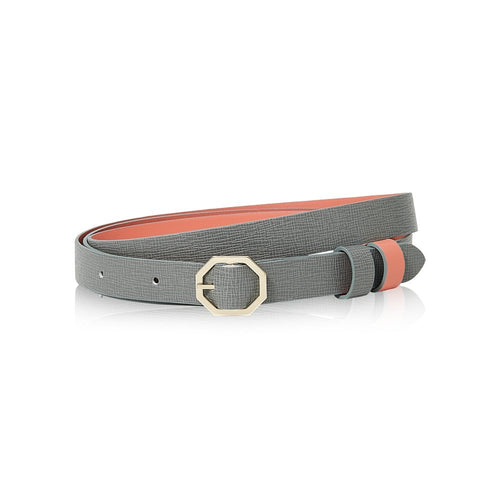 Grey & Pink Leather Belt Reversible - Italian Leather