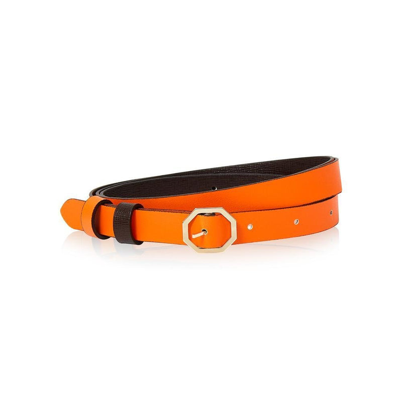 Dark Brown & Orange Leather Belt Reversible - Italian Leather