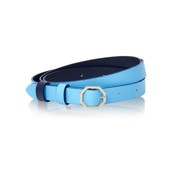 Navy Blue & Sky Blue Leather Belt Reversible - Italian Leather