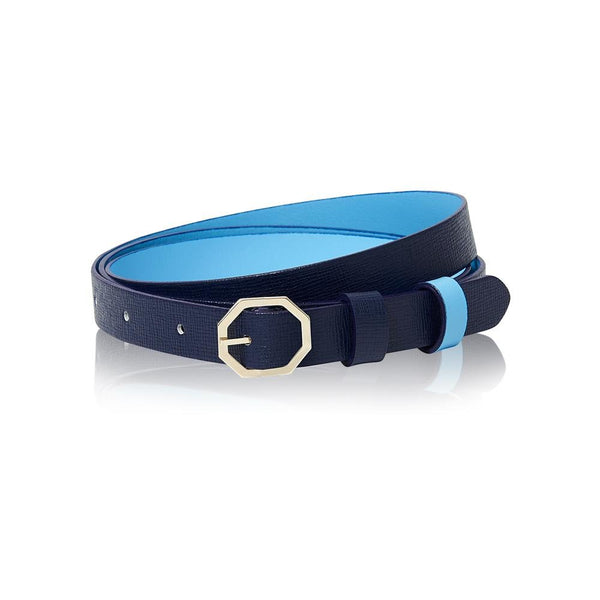 Navy Blue Leather Belt Reversible - Italian Leather