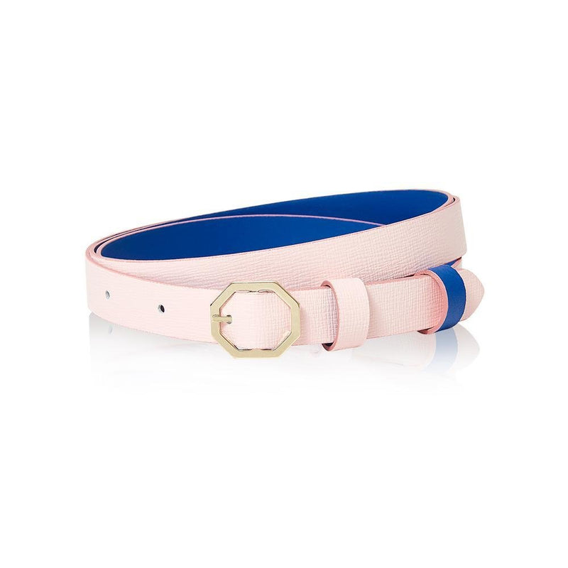 Pink & Blue Leather Belt Reversible - Italian Leather