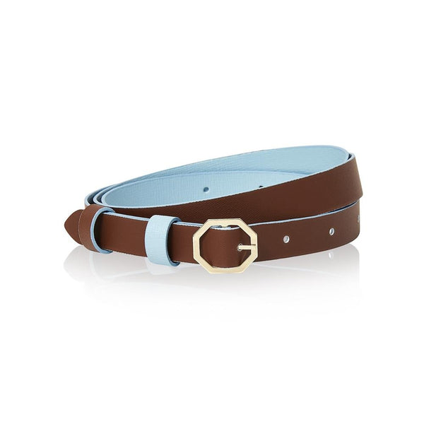 Powder Light Blue & Brown Leather Belt Reversible - Italian Leather