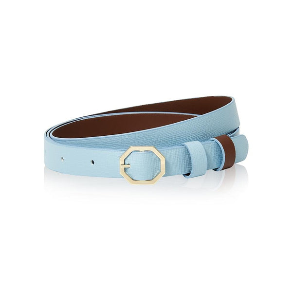 Powder Light Blue Leather Belt Reversible - Italian Leather