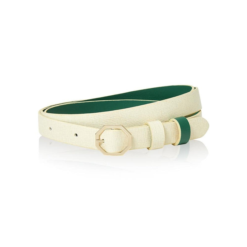 Cream White & Green Leather Belt Reversible - Italian Leather