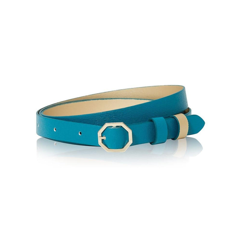 Teal Leather Belt Reversible - Italian Leather