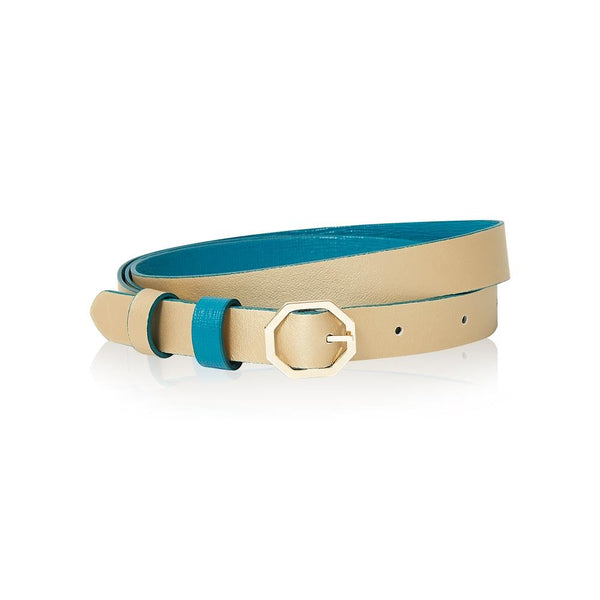 Teal & Gold Leather Belt Reversible - Italian Leather