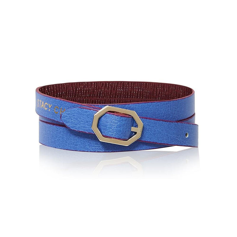 Burgundy & Periwinkle Leather Bracelet Reversible - Italian Leather