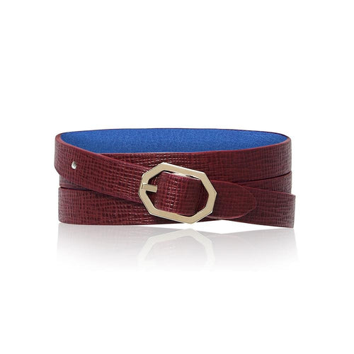 Reversible Bracelet in Bordeaux Saffiano Leather - Stacy Chan Limited