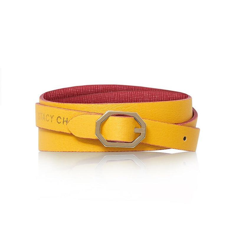 Fuchsia & Yellow Leather Bracelet Reversible - Italian Leather