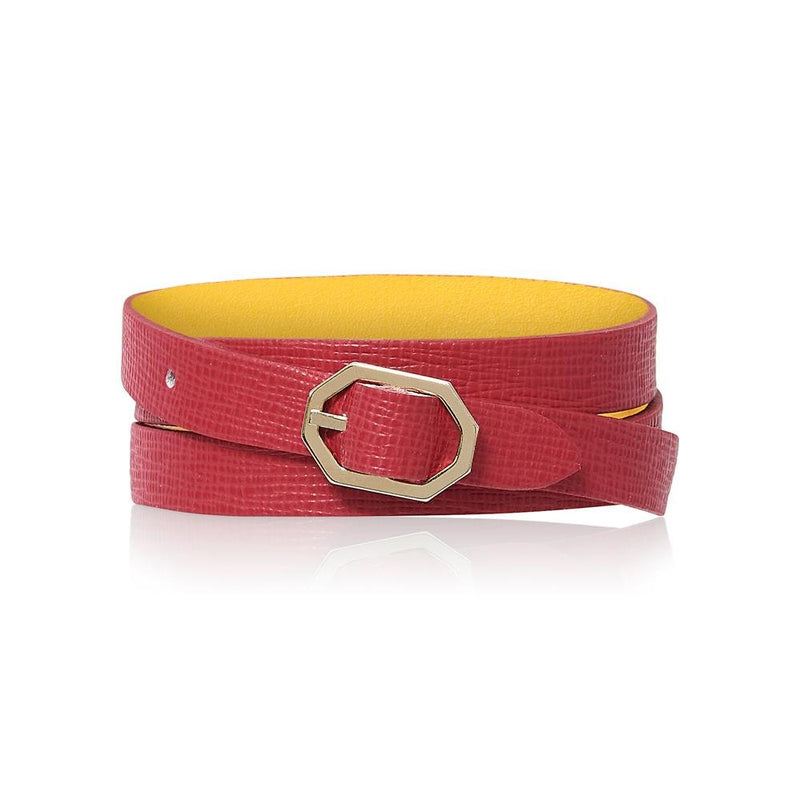 Fuchsia Leather Bracelet Reversible - Italian Leather