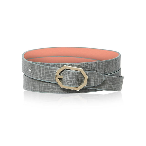 Grey Leather Bracelet Reversible - Italian Leather