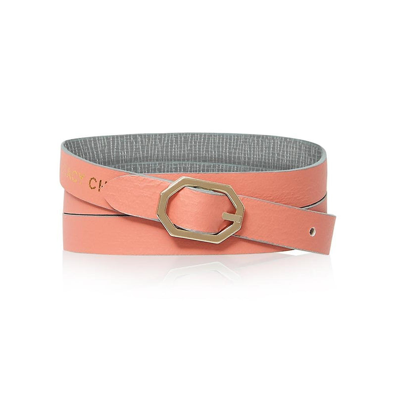 Grey & Pink Leather Bracelet Reversible - Italian Leather