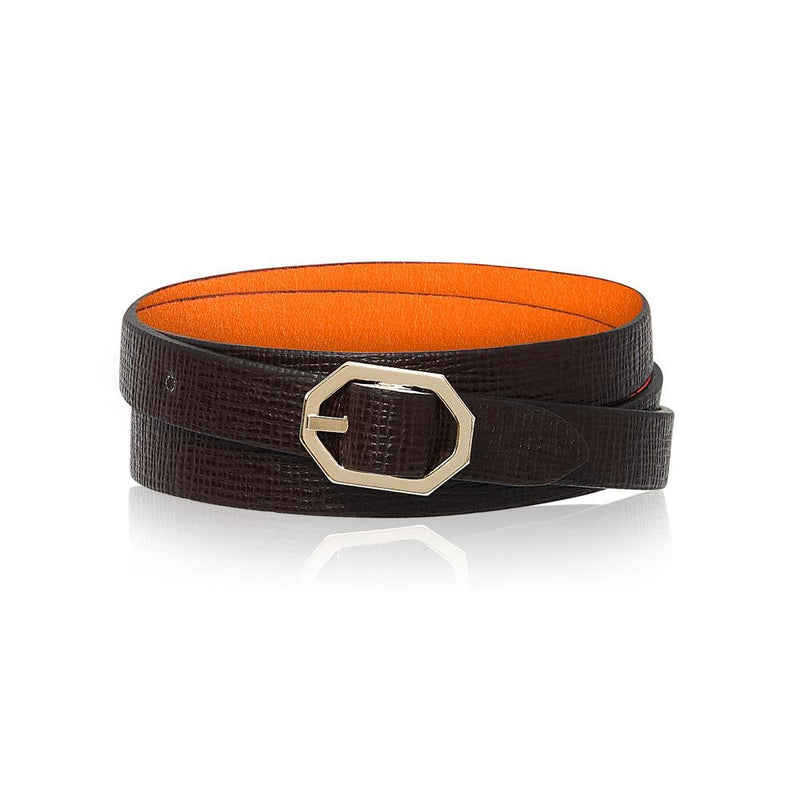Brown Leather Bracelet Reversible - Italian Leather