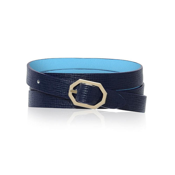 Navy Blue Leather Bracelet Reversible - Italian Leather