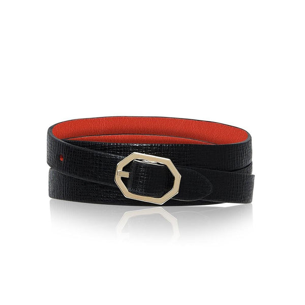 Black Leather Bracelet Reversible - Italian Leather