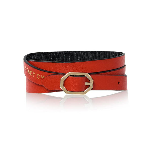 Black & Red Leather Bracelet - Reversible Italian Leather