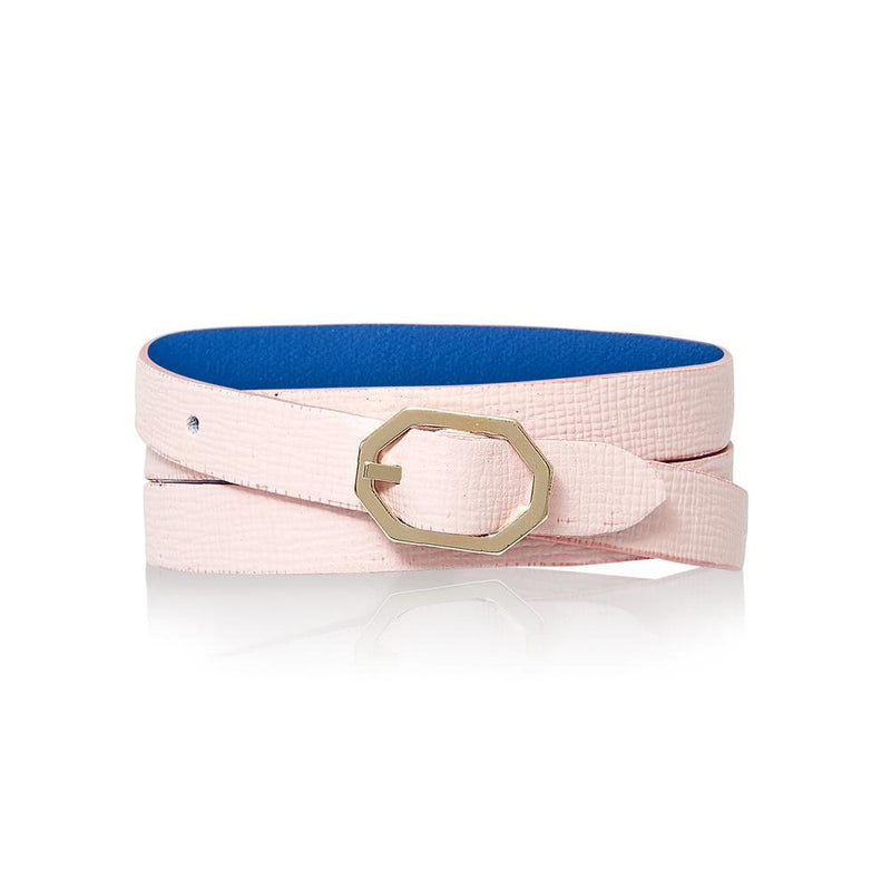 Light Pink Leather Bracelet Reversible - Italian Leather