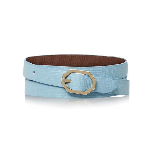 Powder Blue Leather Bracelet Reversible - Italian Leather