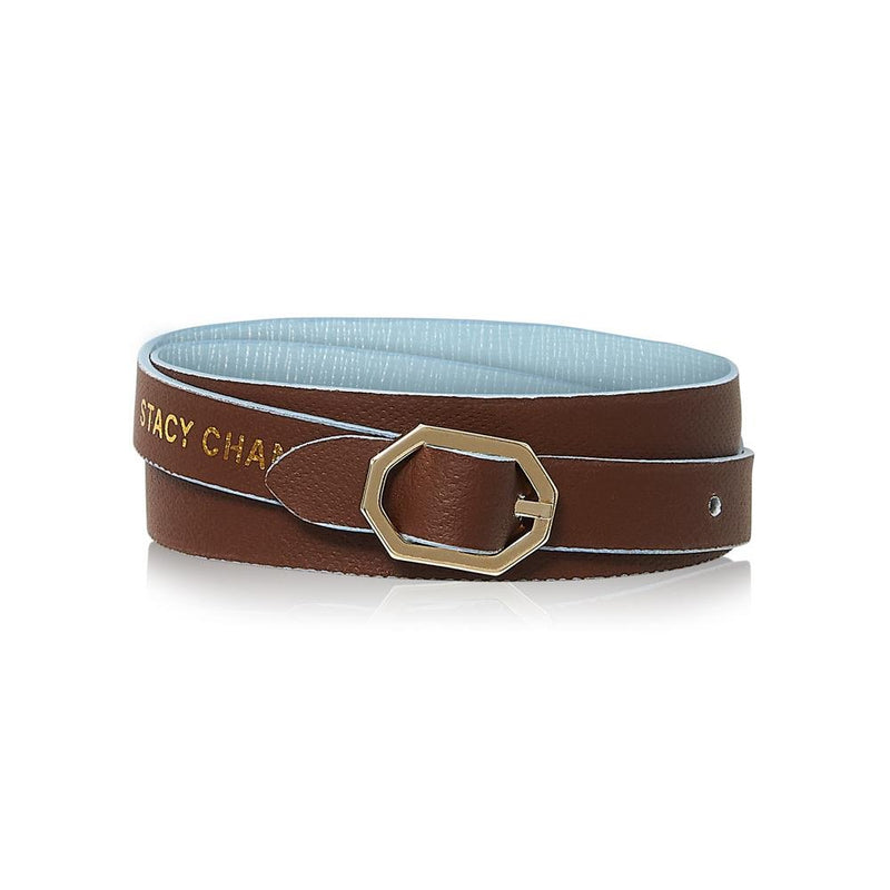 Powder Blue & Brown Leather Bracelet Reversible - Italian Leather