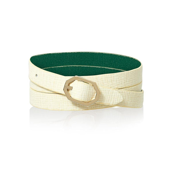 Stone White Leather Bracelet Reversible - Italian Leather