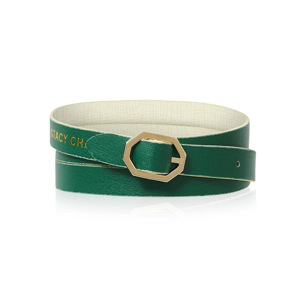 White & Green Leather Bracelet Reversible - Italian Leather