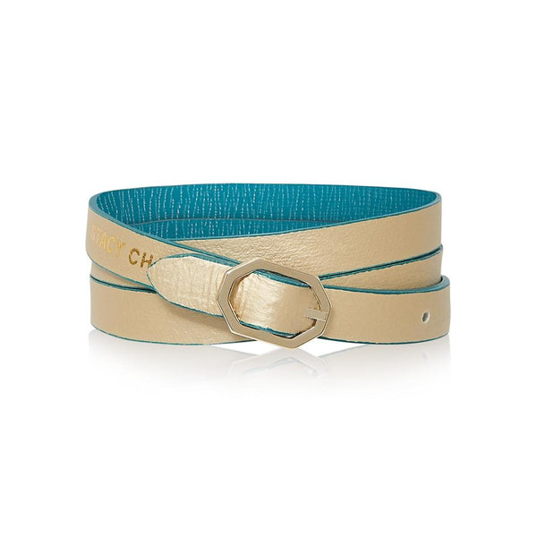 Teal & Gold Leather Bracelet Reversible - Italian Leather