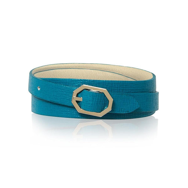 Teal Leather Bracelet Reversible - Italian Leather