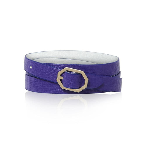 Purple Leather Bracelet Reversible - Italian Leather