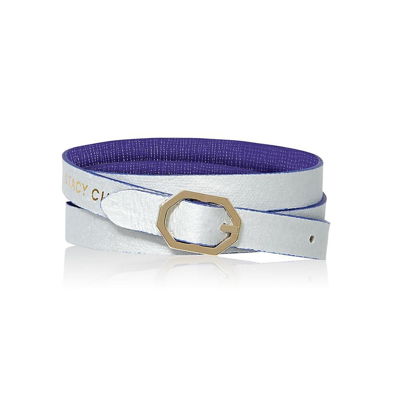 Purple & Silver Leather Bracelet Reversible - Italian Leather