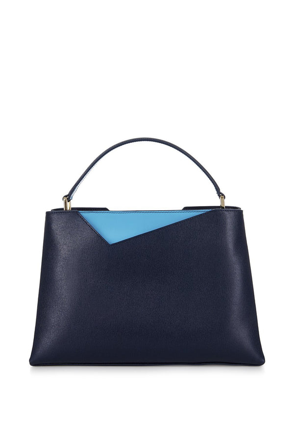 Navy Blue Midi Saffiano Leather Handbag - Designer Stacy Chan