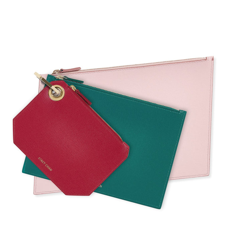 Fuchsia, Teal & Peony Leather Pouch Set