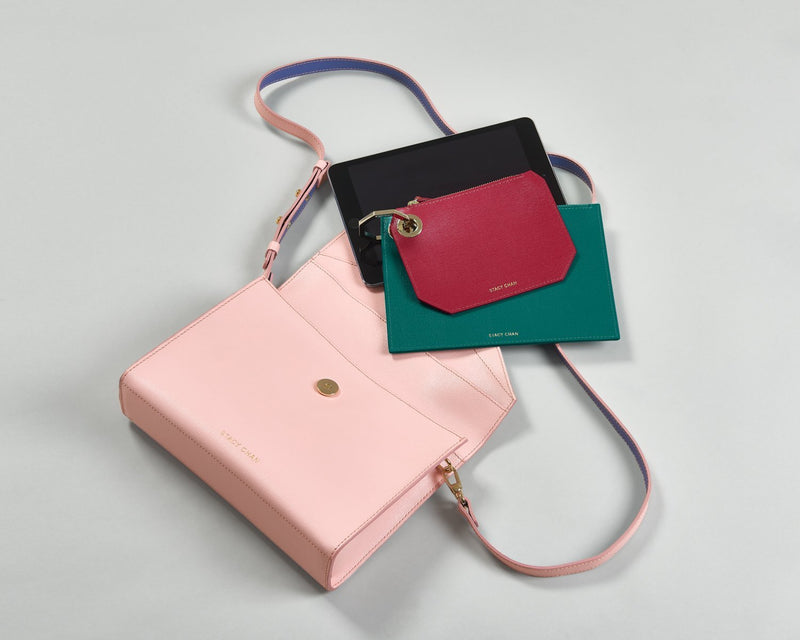 Pink Leather Cross Body with Teal & Fuchsia Pouch Set